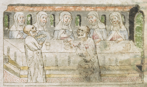 Medieval drawing of fasting nuns at the refectory table being served by skeletons