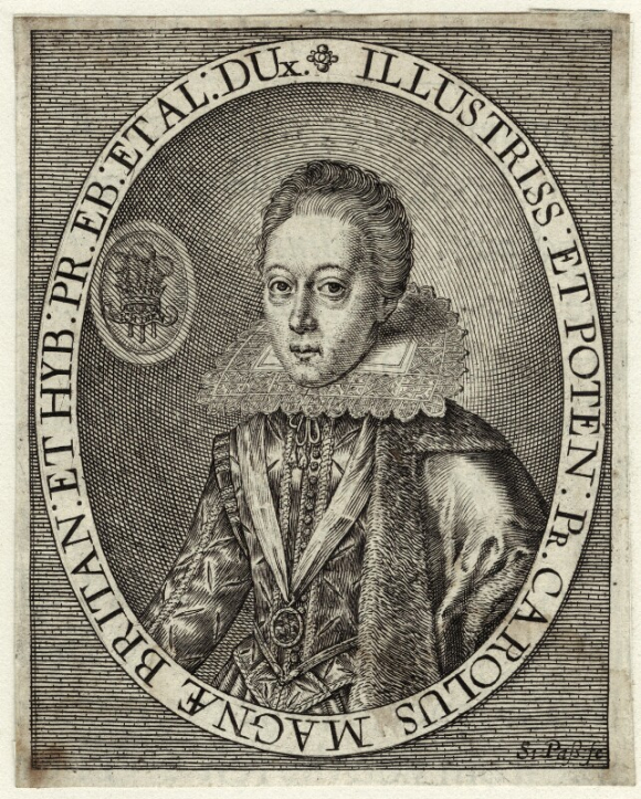 LIne engraving of King Charles I when Prince of Wales, wearing an elaborate costume with a high stiff lace collar