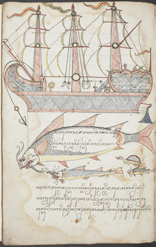 Decorations on a nautical theme. British Library, Add. 12310, f. 19v.