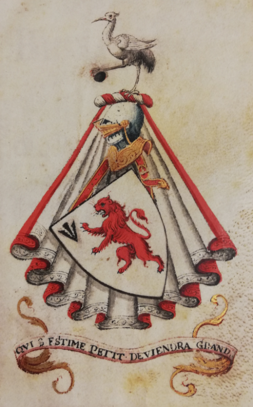 The heraldic achievement of William Petyt, including his coat of arms, mantle, helmet, crest, and motto, coloured with red, pink, and gold.