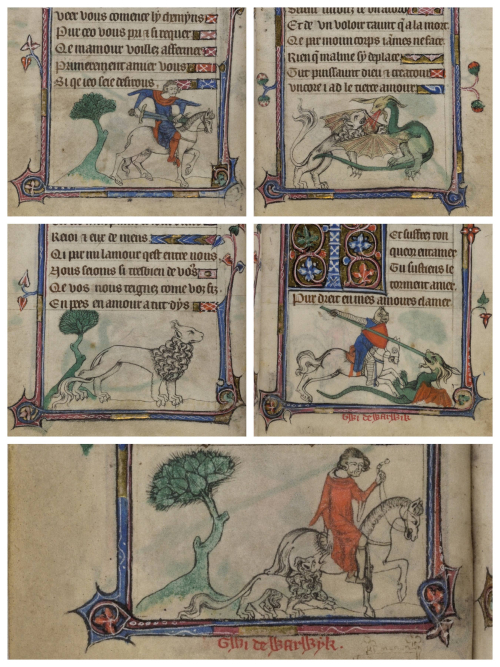 A collage of scenes from the story of Guy of Warwick and the lion from the Taymouth Hours