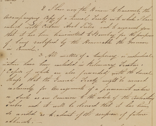 Letter from Major General William Grant Keir, to Captain William Bruce, Resident at Bushire