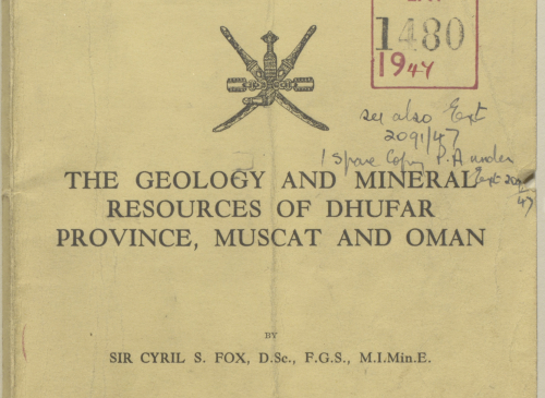 The report on the geology and mineral resources of Dhofar  by Cyril Fox