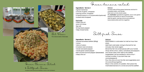 Recipe card with photographs of the dishes at a catering event