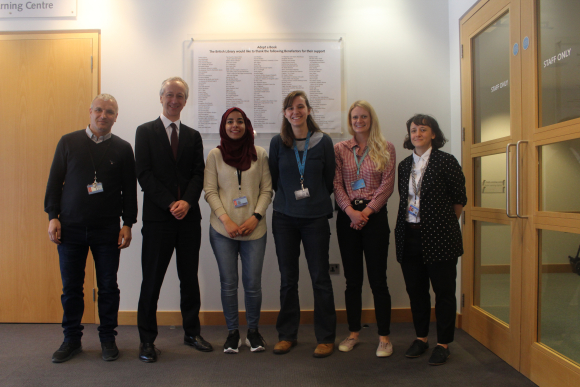 Picture 1: Welcoming Baha and Bara to the British Library Centre for Conservation. Left to right Baha Jubeh, Roly Keating, Bara Bawatneh, Amy Baldwin, Jessica Pollard, Cecile Communal