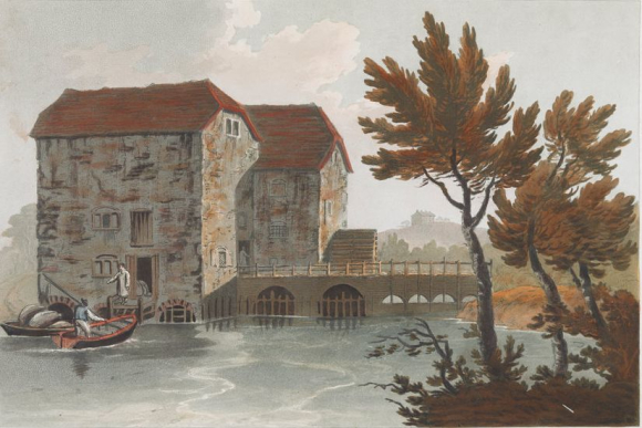 View of a mill - figures and a boat on the left-hand side; a mill at the centre of the scene; water in the foreground; a house on a hill in the distance; trees throughout the scene.