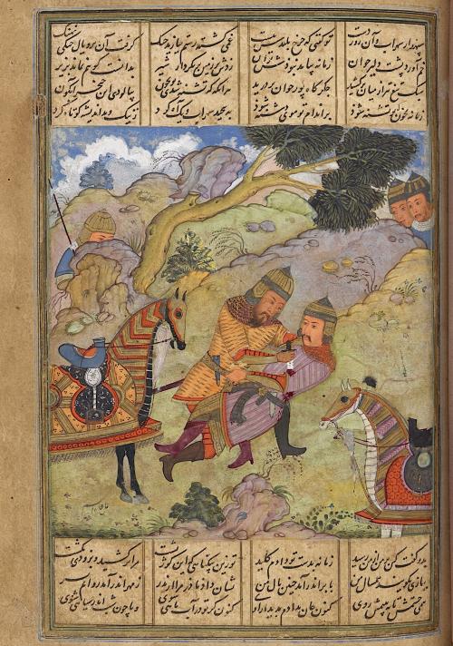Rustam killing Suhrab (Add Ms 5600  f. 99r)