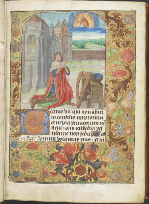 Picture of David praying to God in the Lewis Psalter