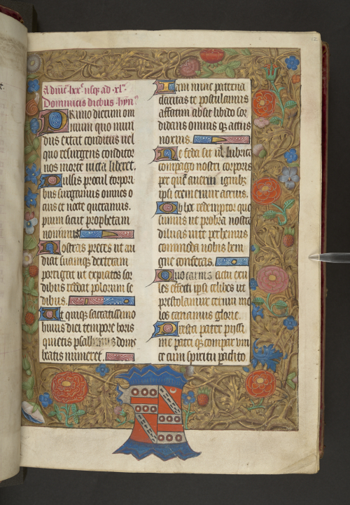 A page from the Lucas Psalter with the arms of Thomas Houchon Lucas