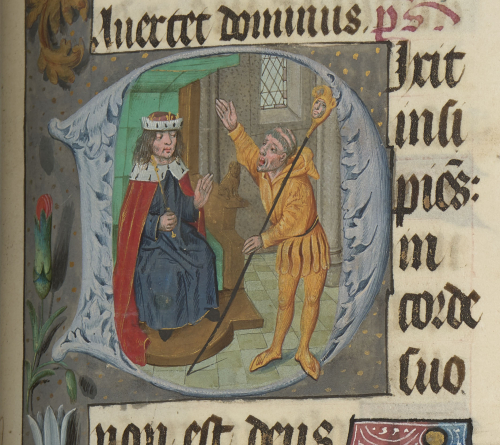King David with a fool, dressed like a jester