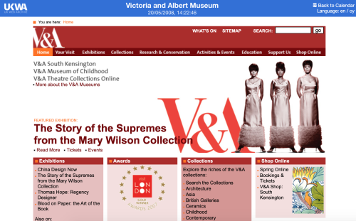 V&A website 2008