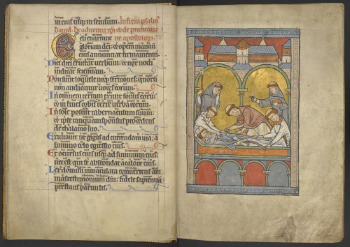 Medieval manuscript double-page showing the Psalter text and a picture of the entombment of Becket