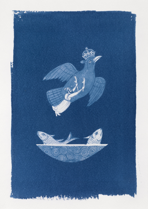 Cyanotype created using collage of images of a bird wearing a crown, a man holding two arms, and two fish in a bowl from the QDL, by Matt Lee (Senior Imaging Support Technician)