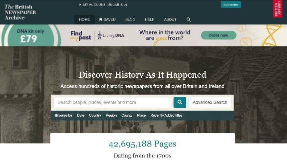 British Newspaper Archive website