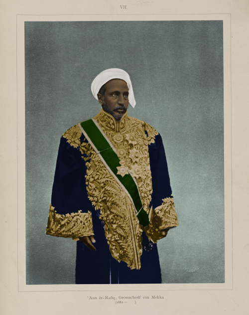 Colourisation of portrait of the Sharif of Mecca, from 1781.b.6/7, using historically accurate colours like gold and dark blue by Daniel Loveday (Senior Imaging Technician)
