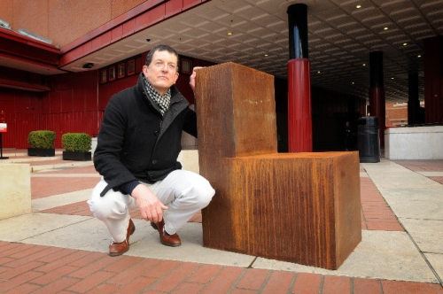 Antony Gormley with his work Witness at the British Library