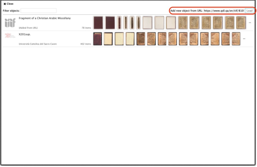 Screen shot showing a primarily white screen with a series of thumbnails of manuscript pages on the top third of the screen