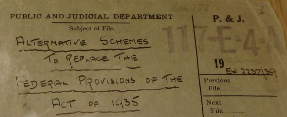 Cover of file entitled 'Alternative schemes to replace Federal provisions of Government of India Act, 1935',