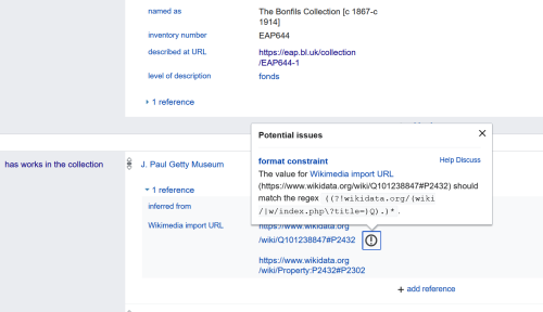 Image of amended Wikidata entry for the Bonfils Collection
