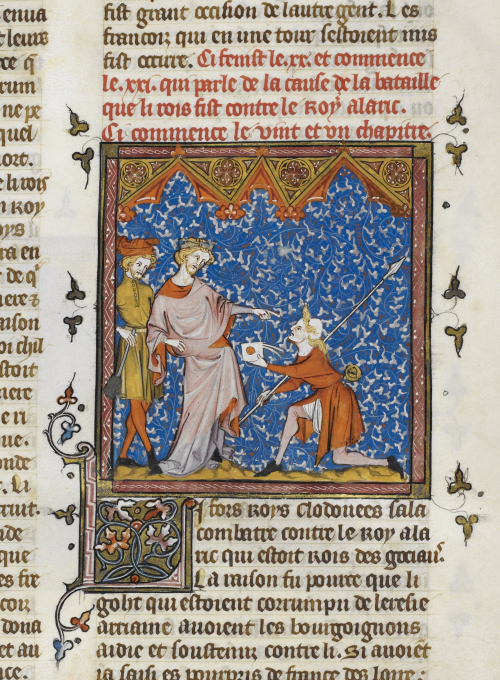 A manuscript illumination showing a messenger kneeling on the right, dressed in red robes, presenting a letter to a king wearing a crown, with another figure standing behind him