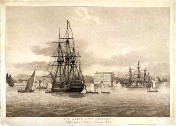 East Indiaman Essex at anchor in in Bombay Harbour