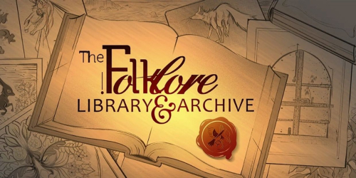 Folklore Library and Archive logo with an open book and a wax seal