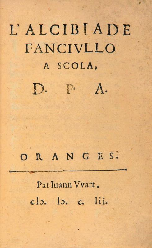 Front page of L'Alcibiade fanciullo a scola