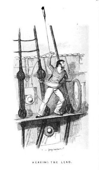 Sailor strapped to ship, heaving the lead