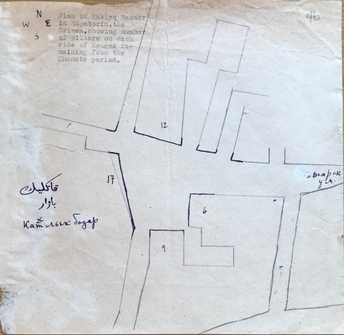 A hand drawn map ink and pencil of a square in Kezlev with various buildings numbered and Arabic, Latin and Cyrillic script text hand written on it, as well as typewritten Latin-script text in the top left corner