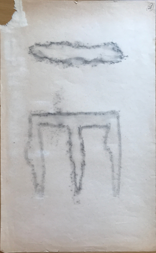 Pencil rubbing of a three pronged figure showing only the outline of the prongs with a blank interior below a rubbing of the outline of a bar