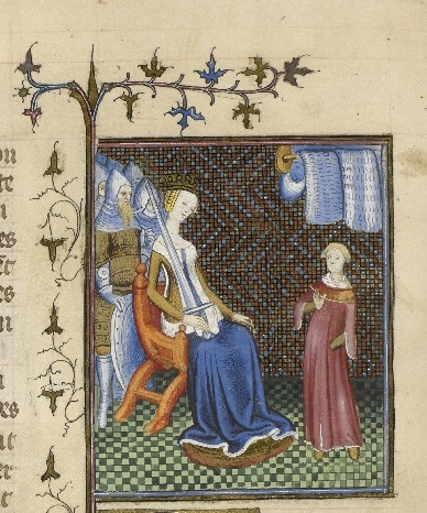 A medieval manuscript illumination, showing a lady seated and holding a sword, with her son before her and armed men standing behind her