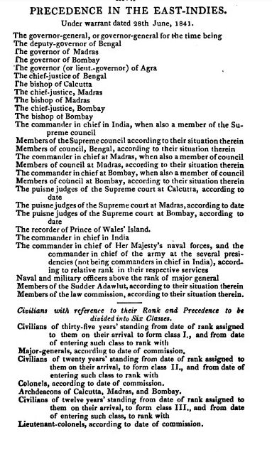Order of Precedence by Royal Warrant 28 June 1841