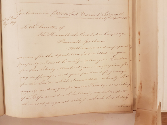 Petition of Truman Wood to the East India Company 16 August 1816