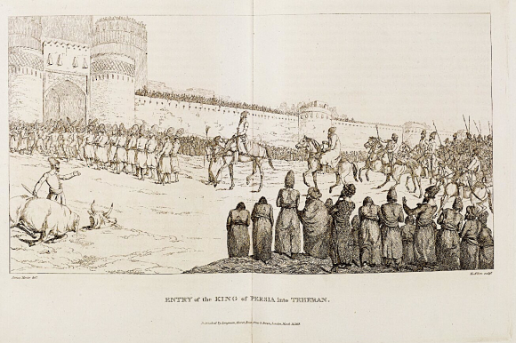 1 Entry of Shah of Persia  Fath 'Ali Shah Qajar  into Tehran preceded by a long row of shaters