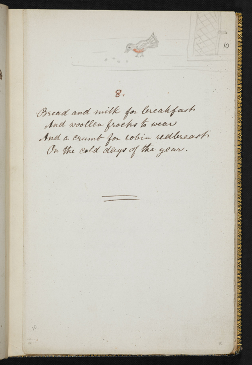 Manuscript showing a short poem with pencil drawn image of a bird on top