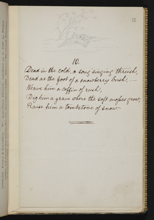 Manuscript showing a short poem with pencil drawn image of a dead bird on top