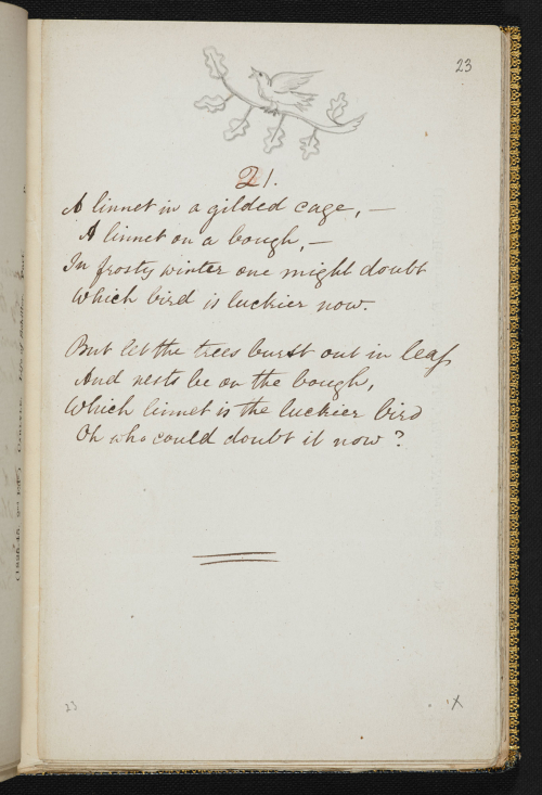 Manuscript showing a short poem with pencil drawn image of a bird singing from a tree branch on top