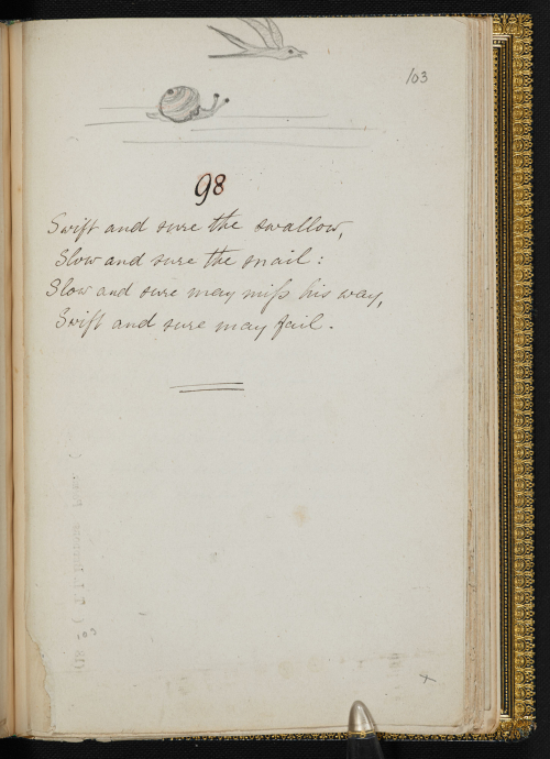 Manuscript showing a short poem with pencil drawn image of a bird on top with a snail underneath