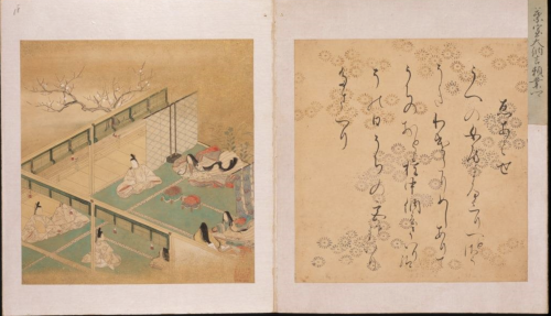 A scene at the Imperial Court where an intellectual contest was held to compare illustrated stories.