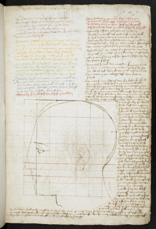 Drawing showing the construction of a male head in profile