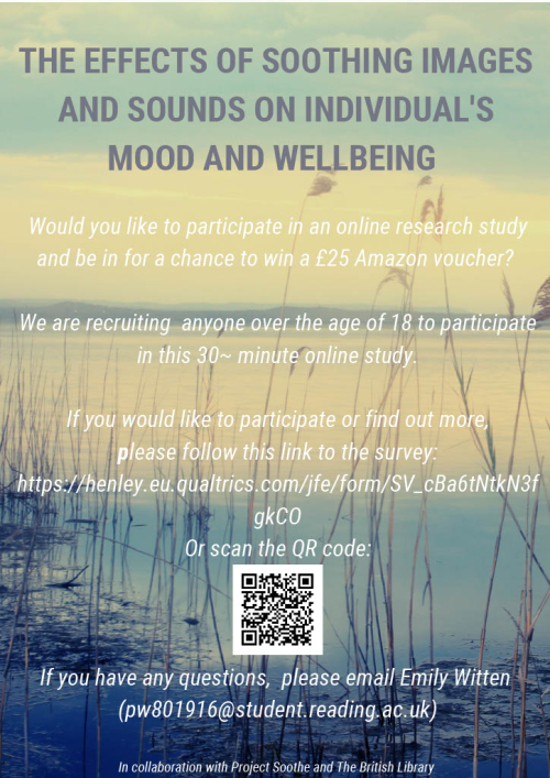 Poster about Soothing Sounds student study for adults