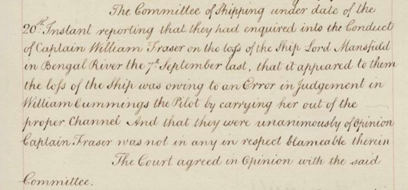 Minutes of East India Company Court of Directors 22 July 1774 stating that Fraser was not to blame for the loss of his ship