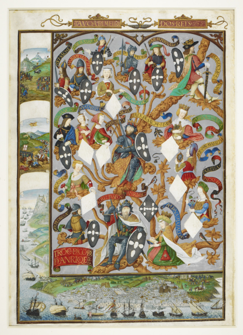 A decorated genealogy of the rulers of Portugal, with the city of Lisbon depicted in the lower border
