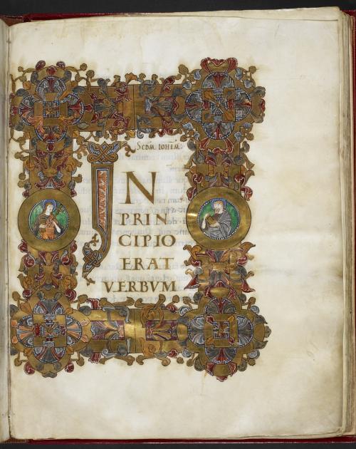 The decorated opening of St John's Gospel, with the words 'In principio erat verbum' written in gold ink