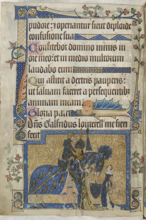 Sir Geoffrey Luttrell mounted on his charger, in a decorated page of the Luttrell Psalter
