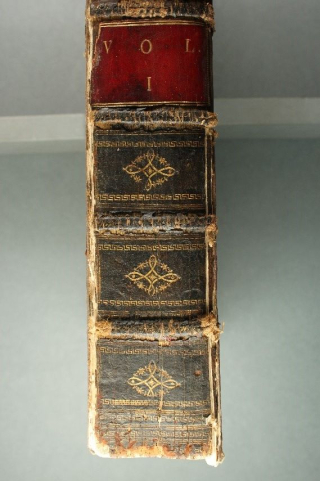 An up-close images of the spine showing 'vol 1' on red leather and designs in gold.
