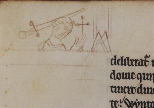 A marginal drawing showing Thomas Becket bowing his head and lifting his hands in prayer with a cross behind him and a bishop's mitre to his right. The drawing shows how the bishop was given a fatal blow to the head with a sword while he was in prayer