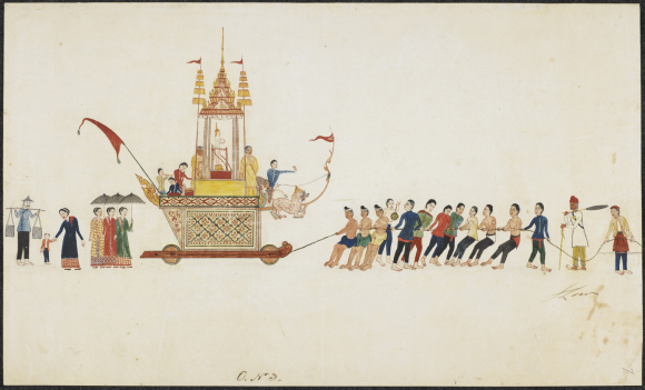 Drawing of a Buddhist procession in southern Thailand