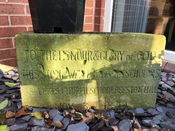 Stone taken from old St. Luke's school building 3 November 1894