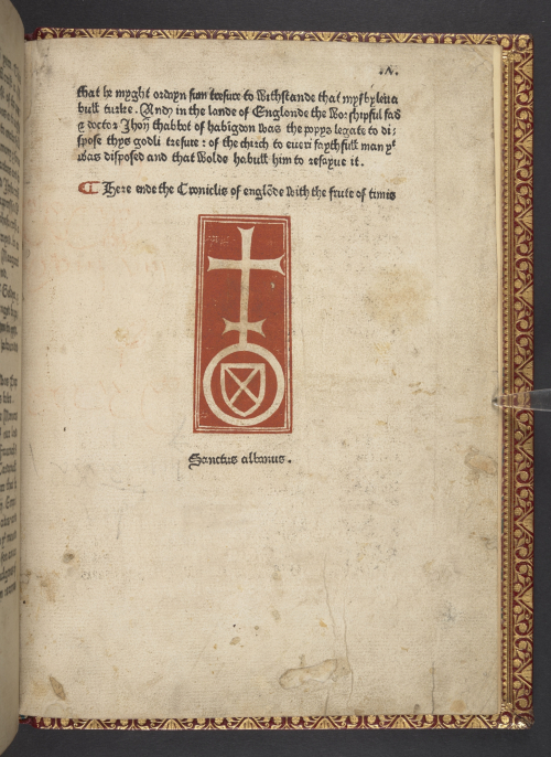 The final page of a printed copy of the Chronicles of England, made by the Schoolmaster Printer, showing a device in red ink, of a saltire cross on a shield.